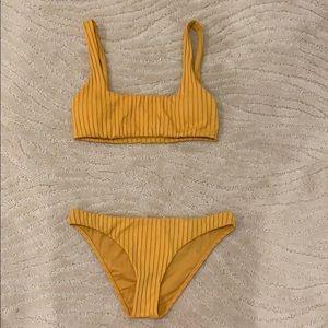 yellow/orange striped billabong bikini